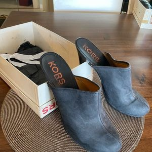 """Michael Korda clogs 4"""" heal size 10 blue Suede"""